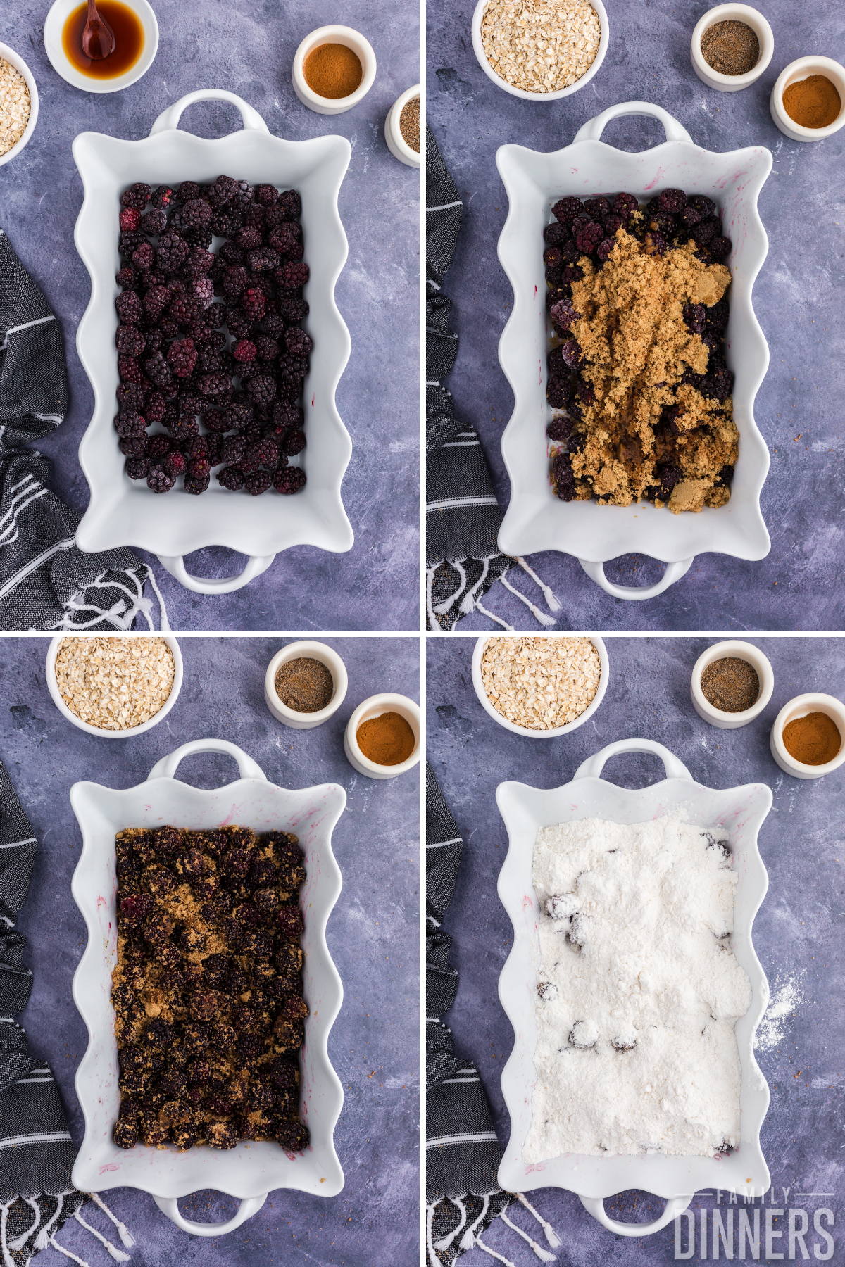collage of 4 images. Top left is white scalloped casserole dish with blackberries in bottom. Top right is same dish with blackberries and brown sugar. Bottom left is blackberries, brown sugar and spices mixed up. Bottom right is same dish with cake mix on top.