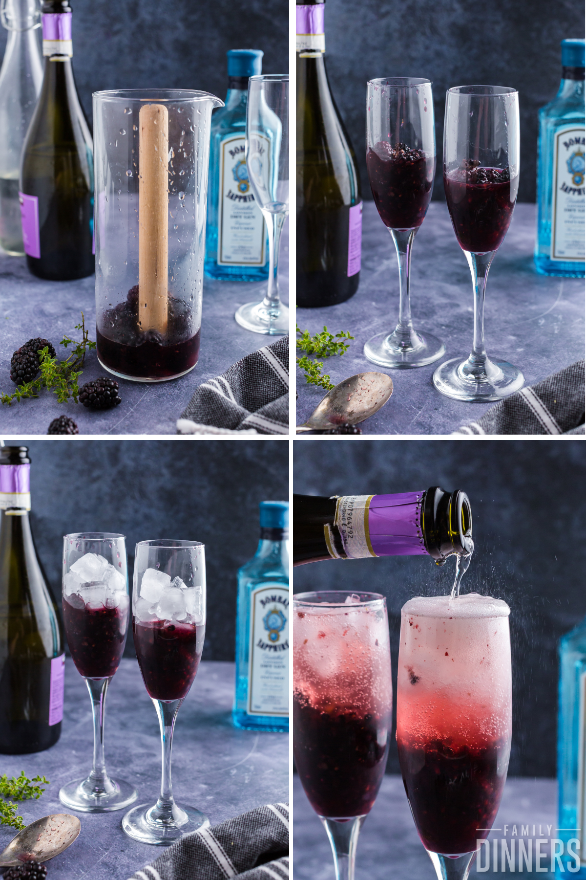 4 photos. Top left shows blackberries being mulled in a glass carafe. Top right shows two champagne glasses full of mulled blackberries. Bottom left shows glasses with berries in the bottom with ice cubes on top. Bottom right shows champagne poured into the glass bubbling and fizzing on top.