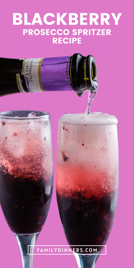photo of two champagne glasses filled with blackberry cocktail that's dark purple on bottom and lighter pink on top. Text says blackberry spritzer recipe
