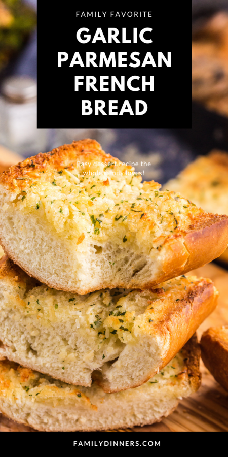french bread cut in slices and toasted with garlic and parmesan