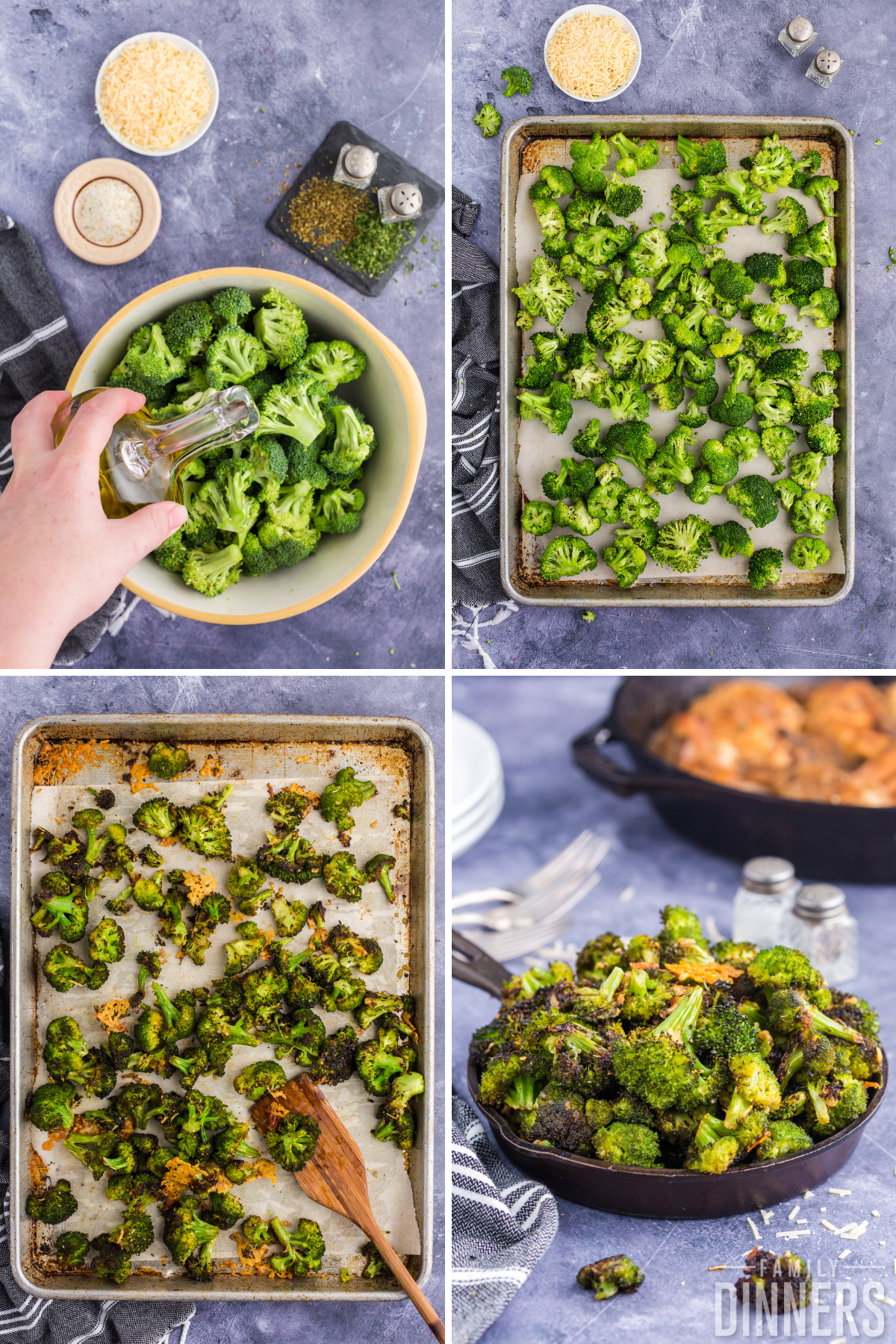 cook broccoli in oven instruction photo - image on left of silver sheet pan lined with parchment paper. Broccoli and crispy parmesan cheese are on top of parchment paper. Image on right: oven roasted broccoli is served in a black cast iron pan.