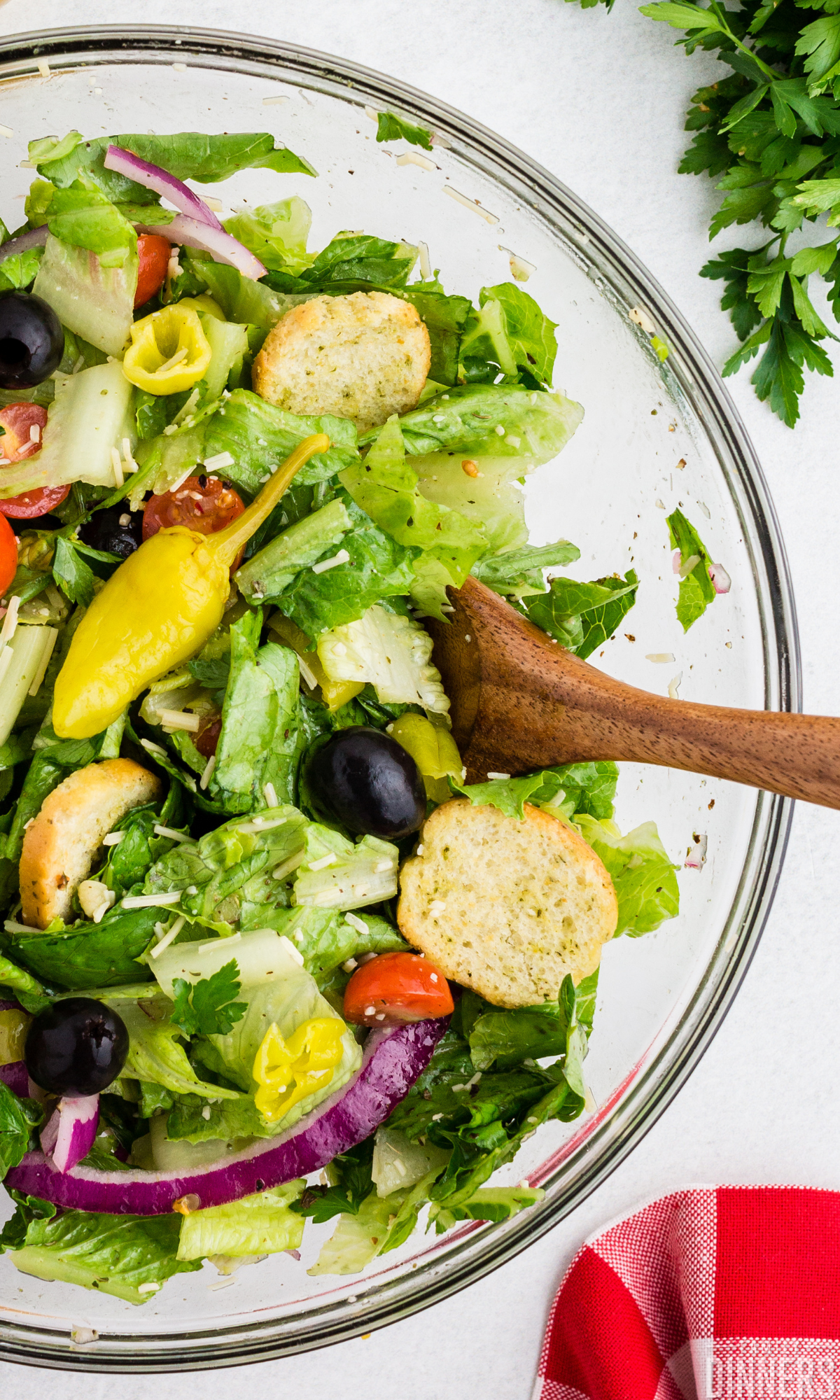 closeup of Italian salad in a bowl