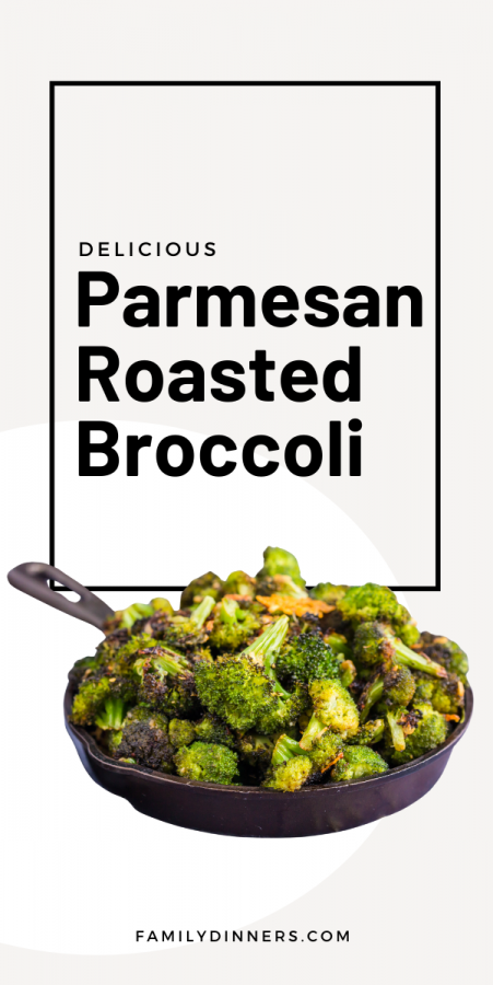 black cast iron pan with parmesan roasted broccoli on top