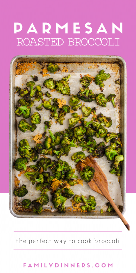 baking sheet with parmesan roasted broccoli on top