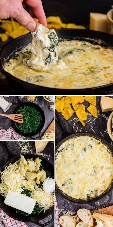 crusty bread being dipped into hot cheesy spinach and artichoke dip in a black cast iron pan