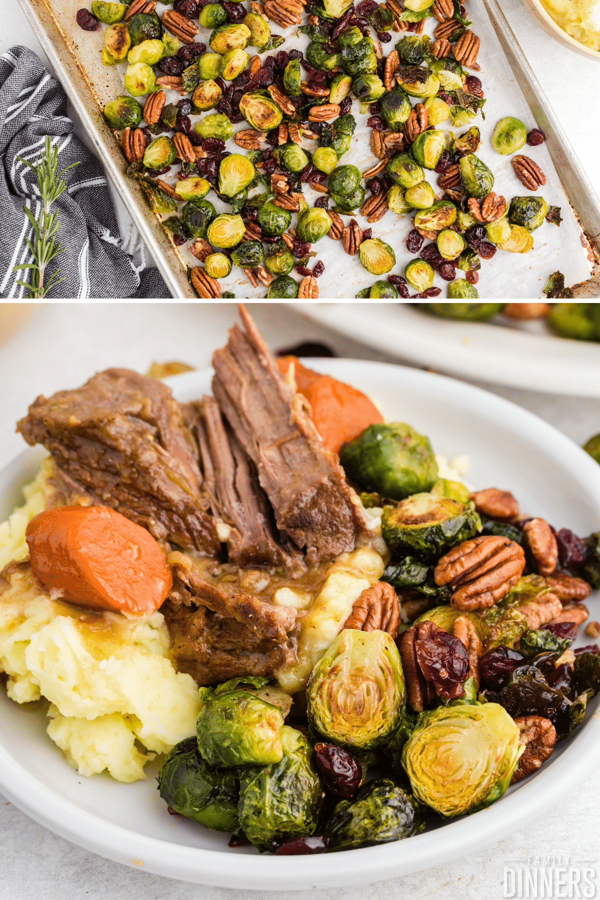 plate with brussels sprouts, roast beef, carrots and mashed potatoes. Perfectly roasted.