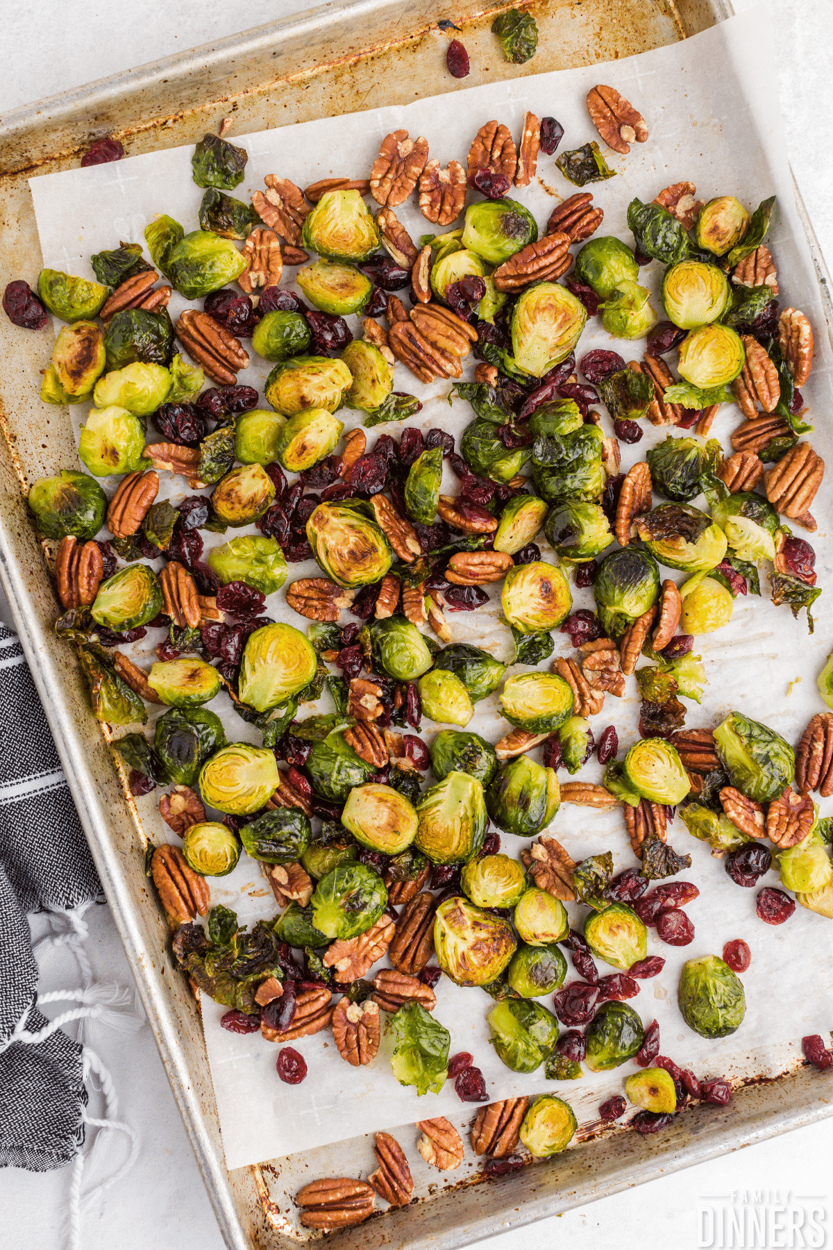baking sheet covered in roasted brussels sprouts