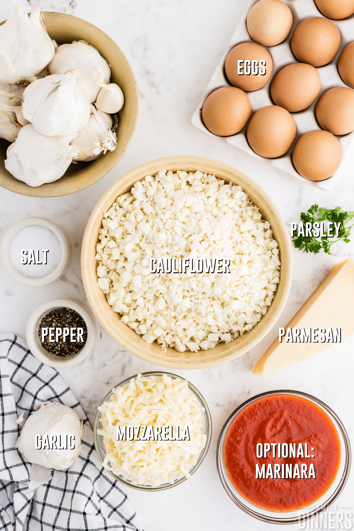 cauliflower breadsticks ingredients on white counter