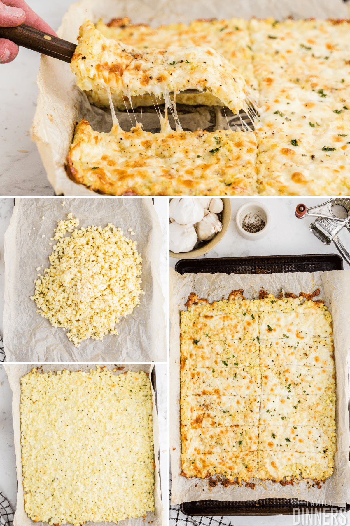 cauliflower breadsticks collage process