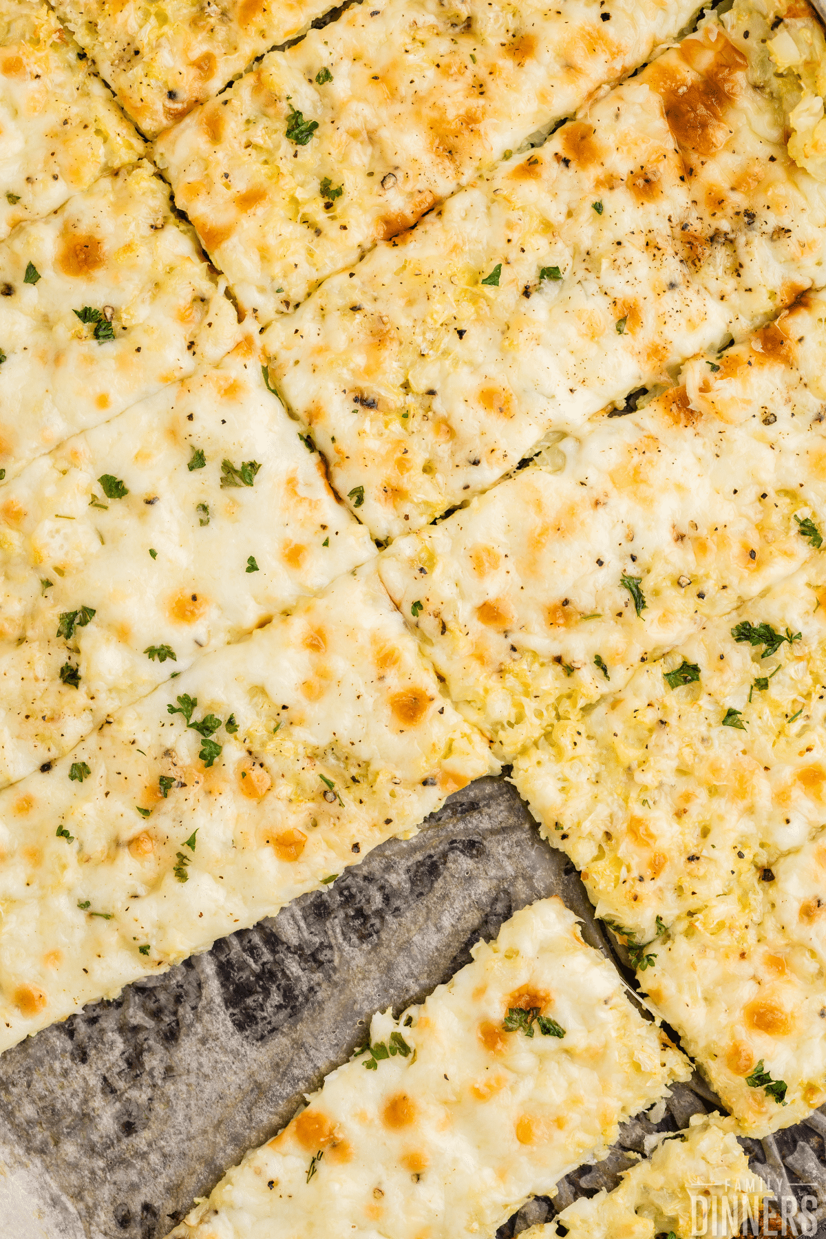 sliced cauliflower breadsticks