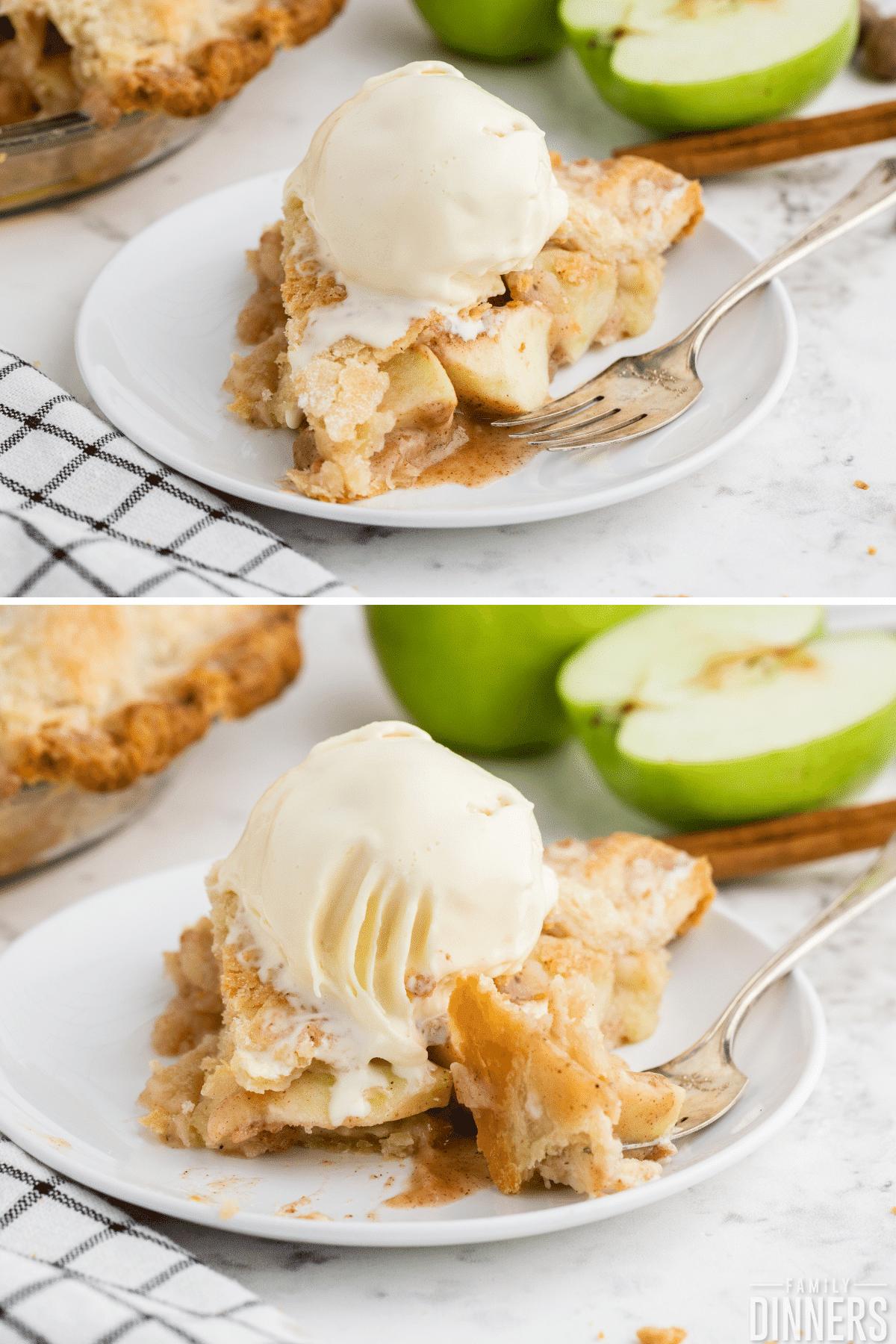 apple pie slice on white plate with vanilla ice cream scoop
