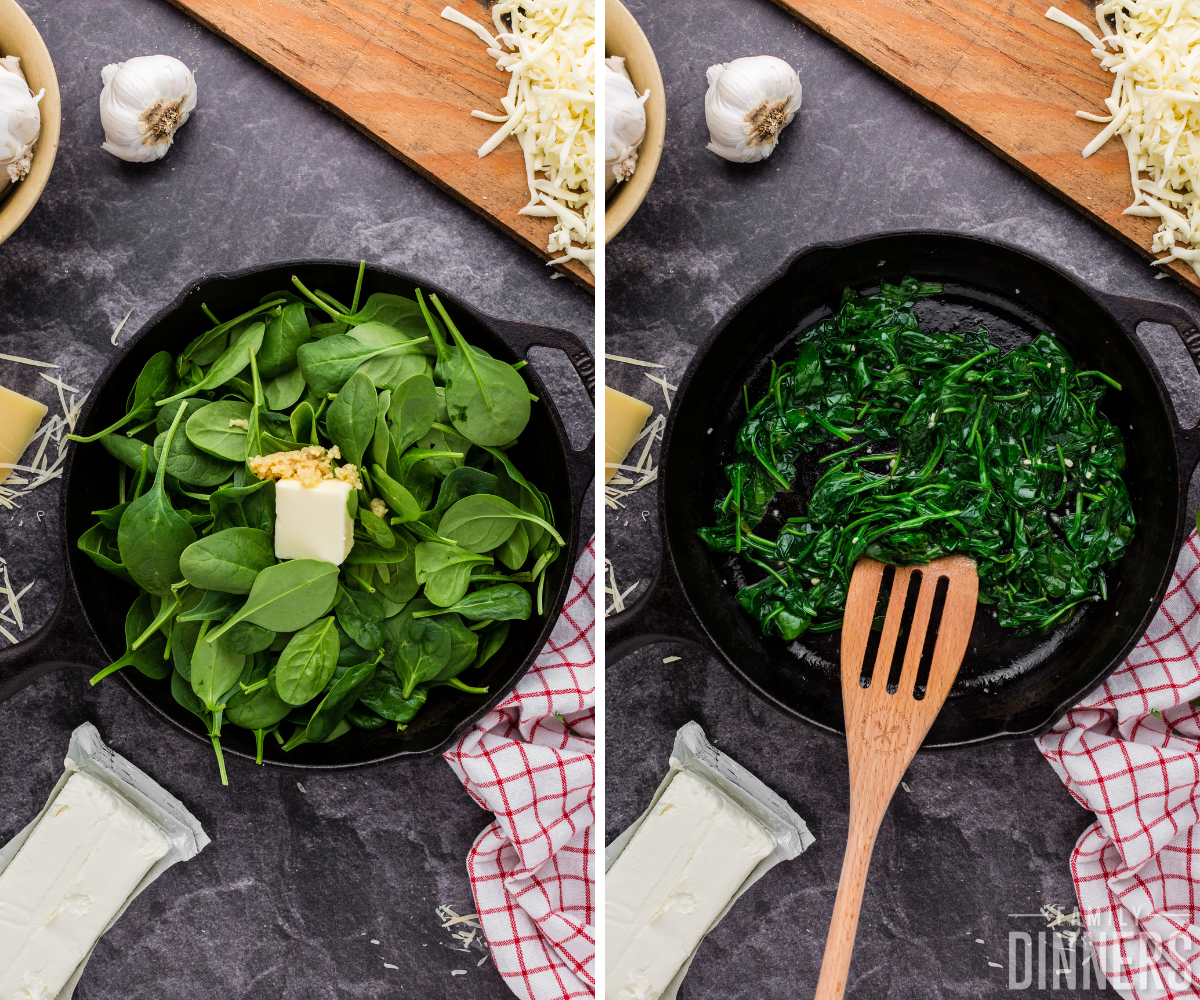 two images - left is fresh spinach, garlic and butter in a pan, right is ingredients sautéed
