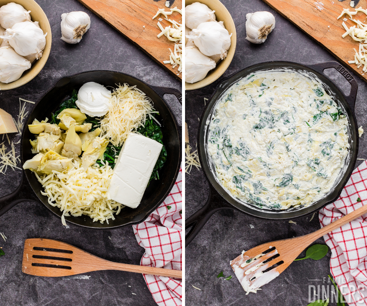 step 3 and 4 of hot spinach dip recipe - cast iron pan full of ingredients being mixed