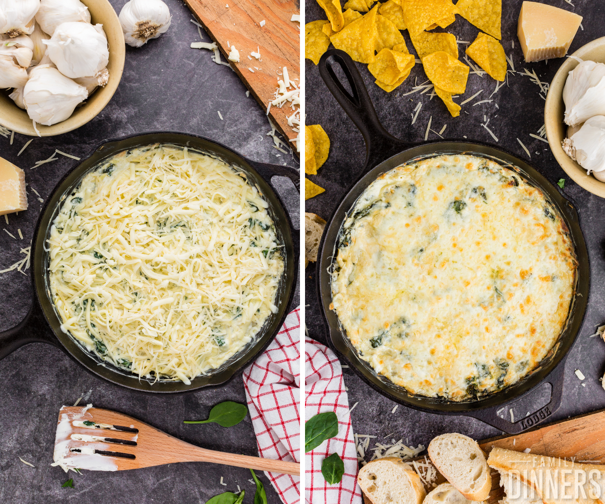 steps 5 and 6 of making spinach artichoke dip- cast iron pan full of cheesy dip