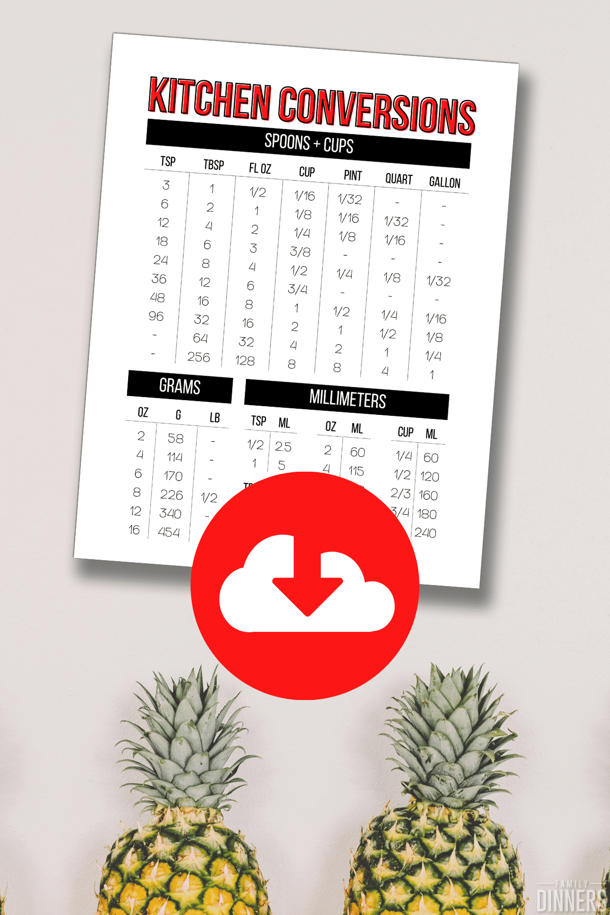 red text says download kitchen conversions chart printable on pineapple background