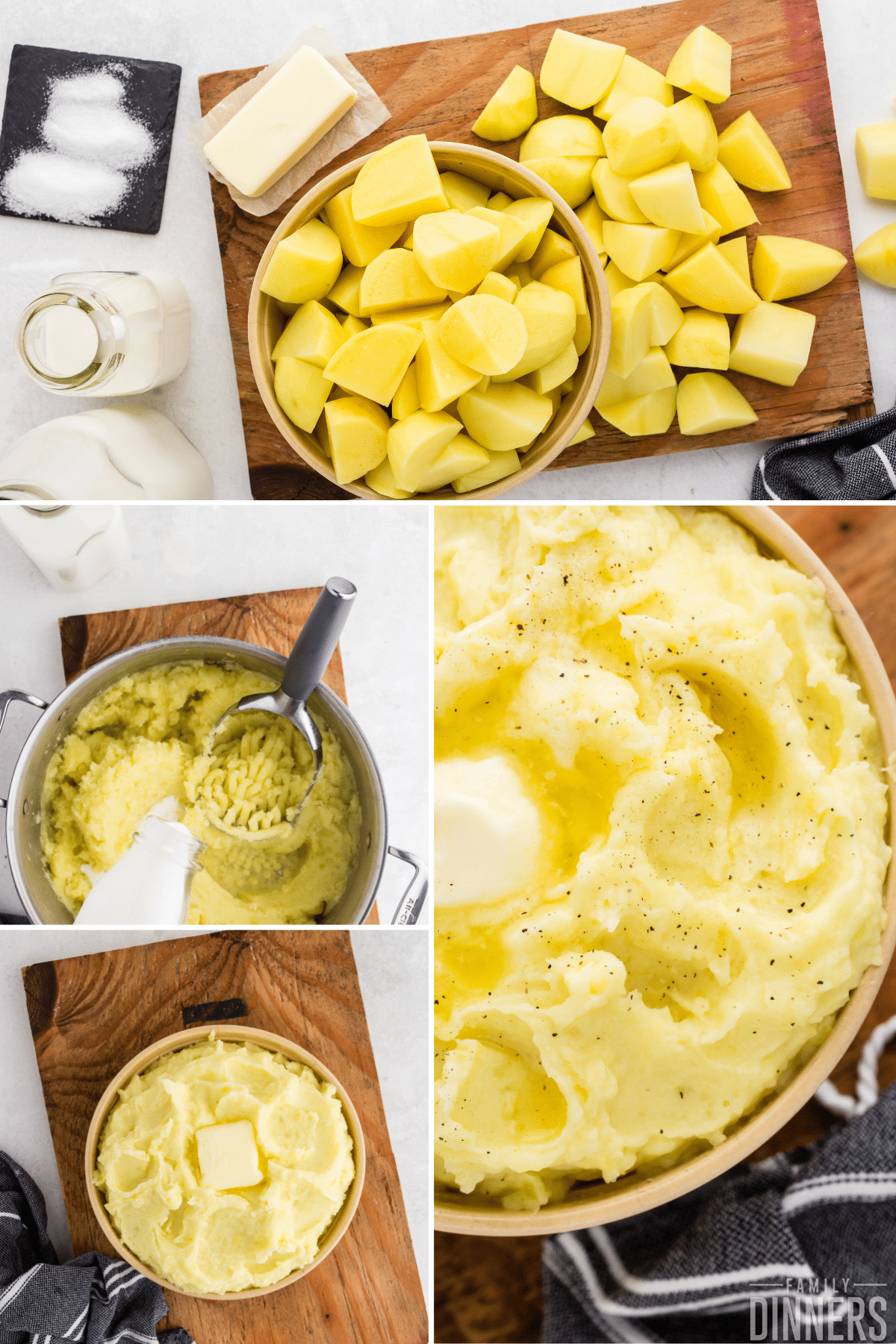 collage - yellow cut up potatoes in a bowl and on a cutting board next to a stick of butter, salt and milk. Potatoes being mashed in a silver pot and a finished photo of mashed potatoes in a bowl.