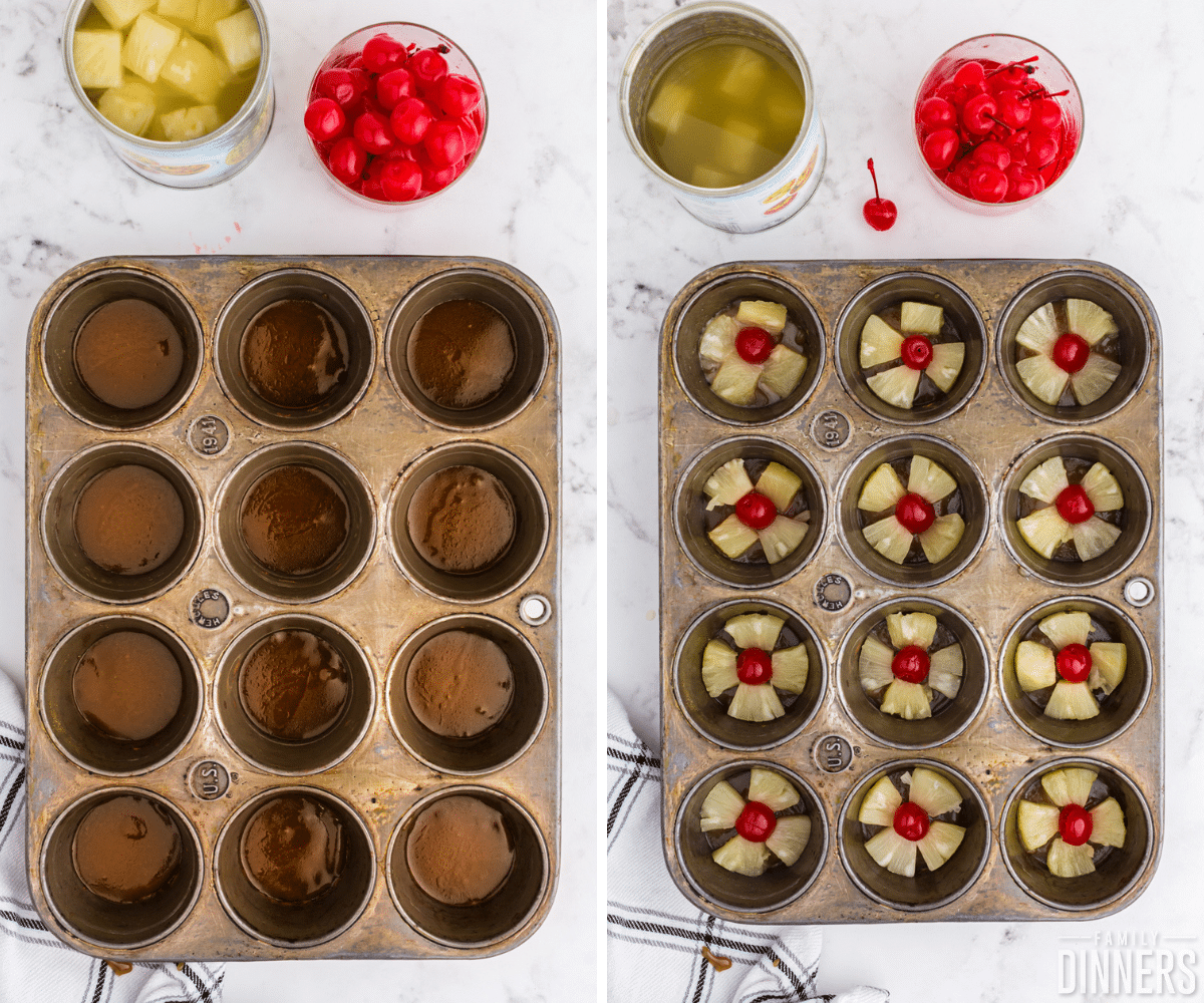 pineapple upside down mini cakes in a muffin tin