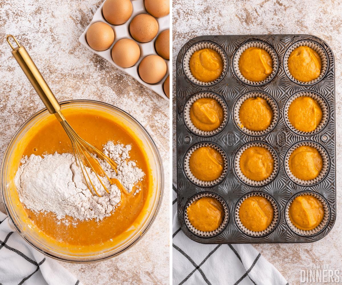 pumpkin pie cupcake batter in cupcake tin
