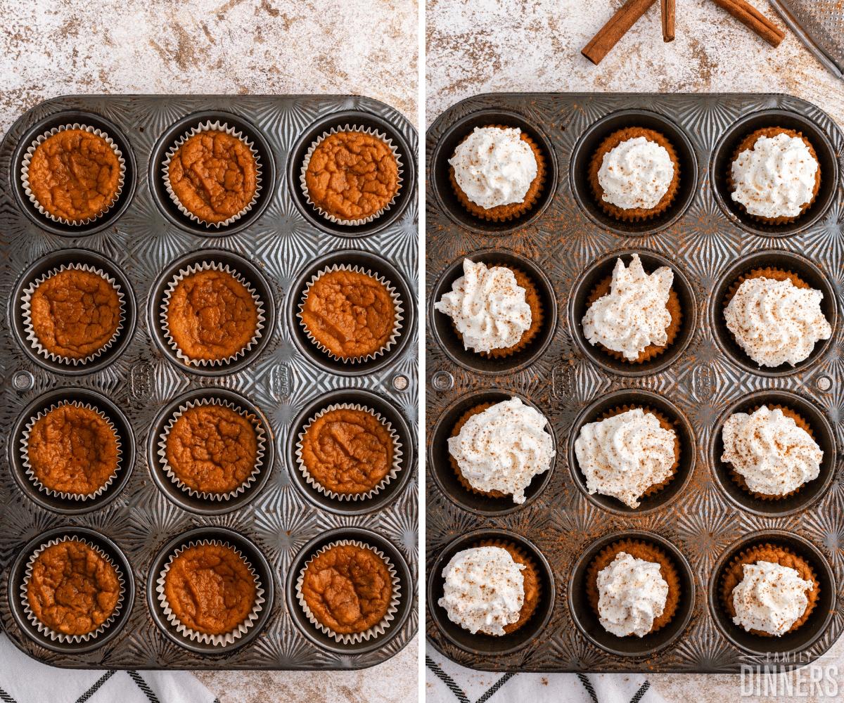 pumpkin pie cupcakes collage