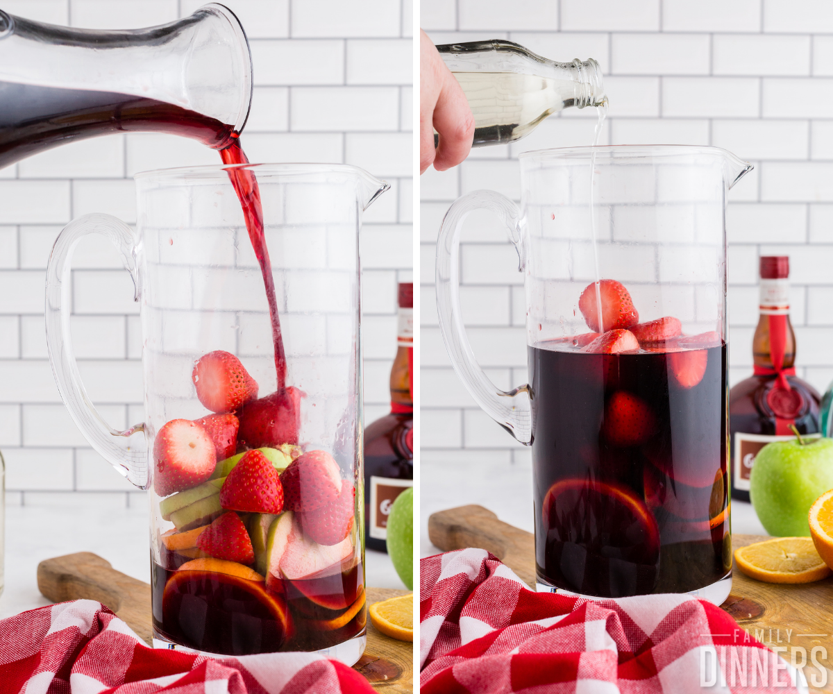red wine sangria pouring ingredients into glass pitcher