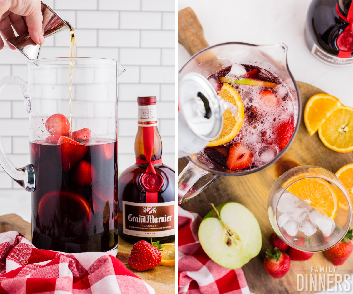 pouring grand marnier and soda into red wine sangria