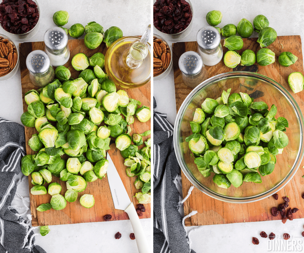 cut brussels sprouts in bowl