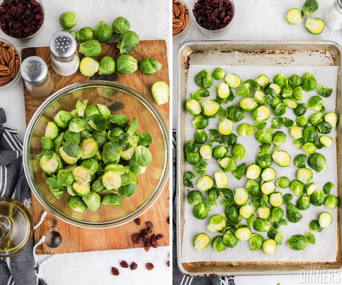 brussels sprouts mixed with spices and oil and put on baking sheet