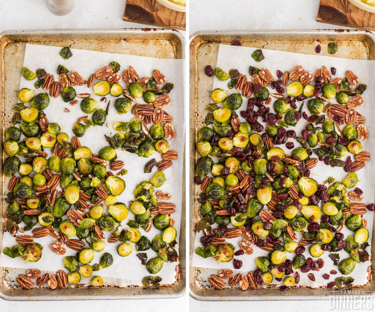 pan with roasted brussels sprouts