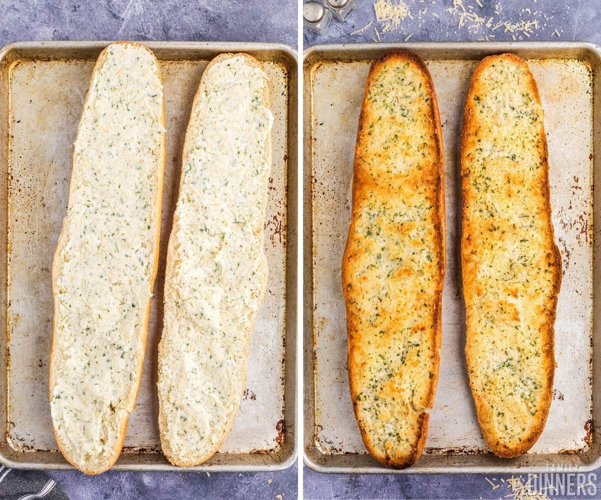 left image of uncooked garlic french bread. Bread open on baking sheet with garlic butter spread onto french bread. Image on right is cooked golden garlic cheese bread recipe.