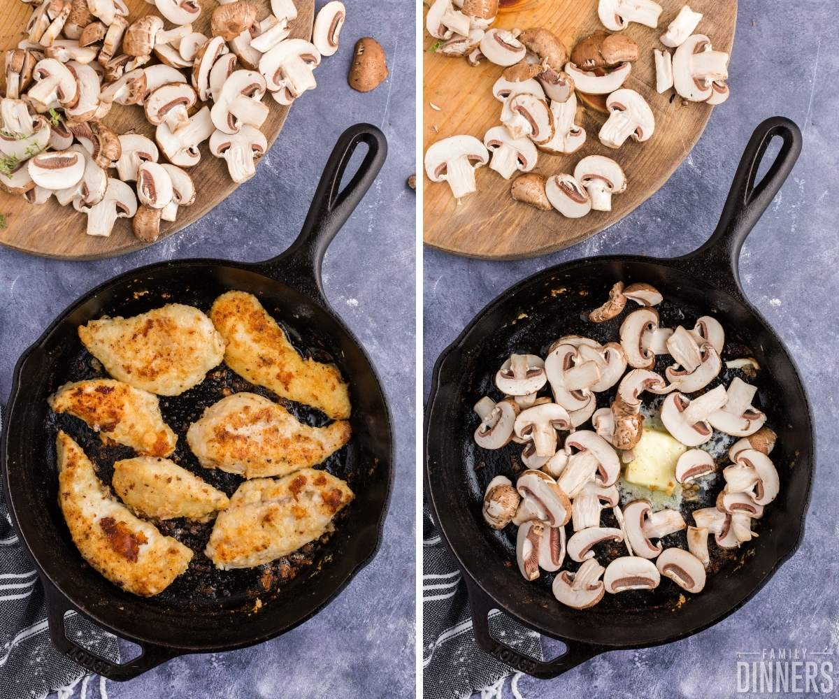 steps 3 and 4 of chicken in white wine sauce with mushrooms. Image on left: browned chicken in black cast iron skillet. Image on right: butter melting in black cast iron skillet with fresh mushrooms on top.