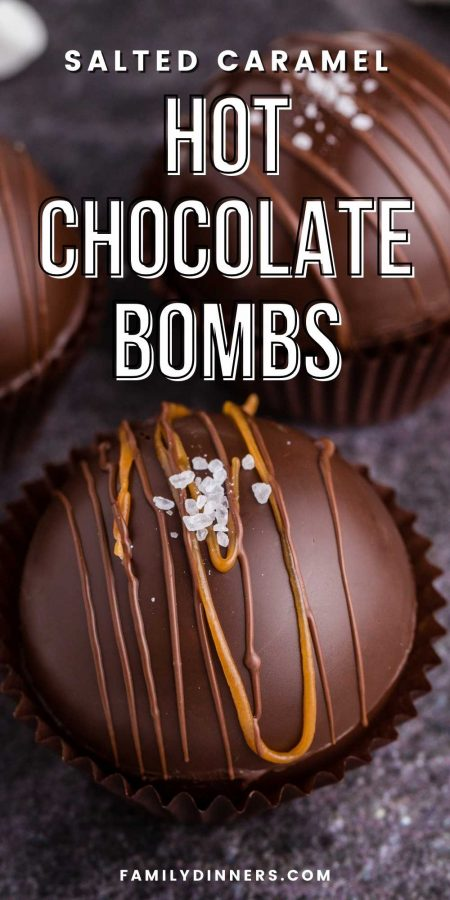 text: salted caramel hot chocolate bombs recipe IMAGE: chocolate round spheres