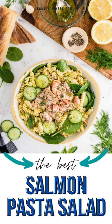 Top image of large bowl of mixed salmon pasta salad with cucumbers and spinach next to a small plate with pasta salad on it. Bottom image close up of large bowl of salmon pasta salad.