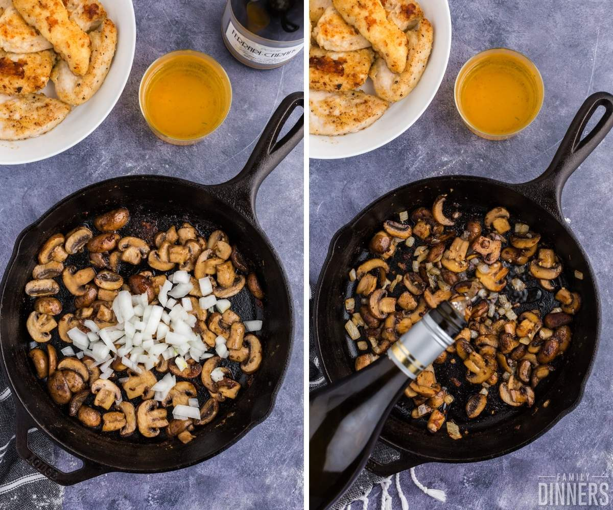 steps 5 and 6 of chicken in white wine sauce with mushrooms. Left image: black cast iron pan with sautéed mushrooms and fresh onions on top. Right image: sauteed mushrooms and onions in black cast iron skillet. White wine being poured into pan.