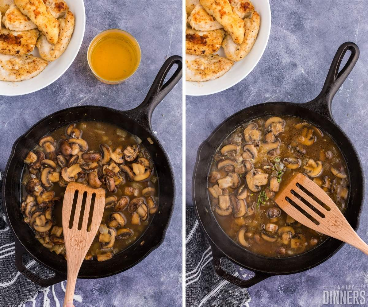 steps 7 and 8 of chicken in white wine sauce with mushrooms. Left image: black cast iron skillet filled with brown sauce with mushrooms. Wood slotted utensil stirring. Image on right is the same except with seasonings thrown on top.