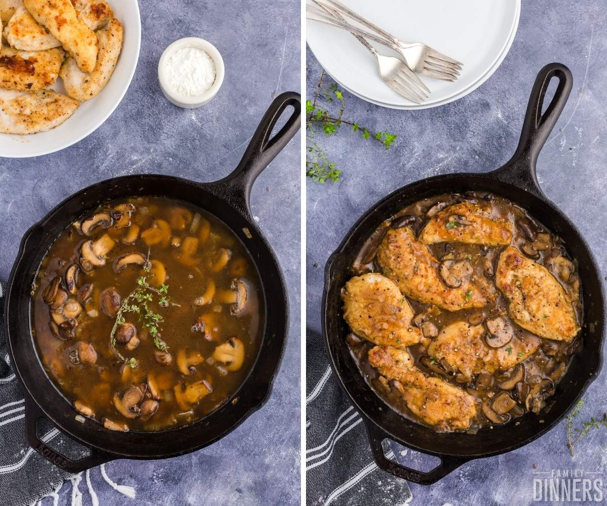 steps 9 and 10 of chicken in white wine sauce with mushrooms. Left image of black cast iron skillet with brown liquid and mushrooms and spices. Right image has black cast iron skillet with chicken placed on top of mushrooms and sauce.