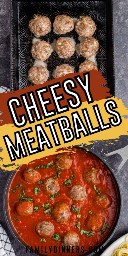 text: the best meatballs everyone loves: image: meatballs in marinara sauce
