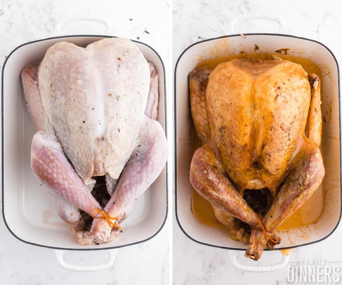 two images. Raw turkey read to go into the oven on the left and golden roasted turkey on the right side.