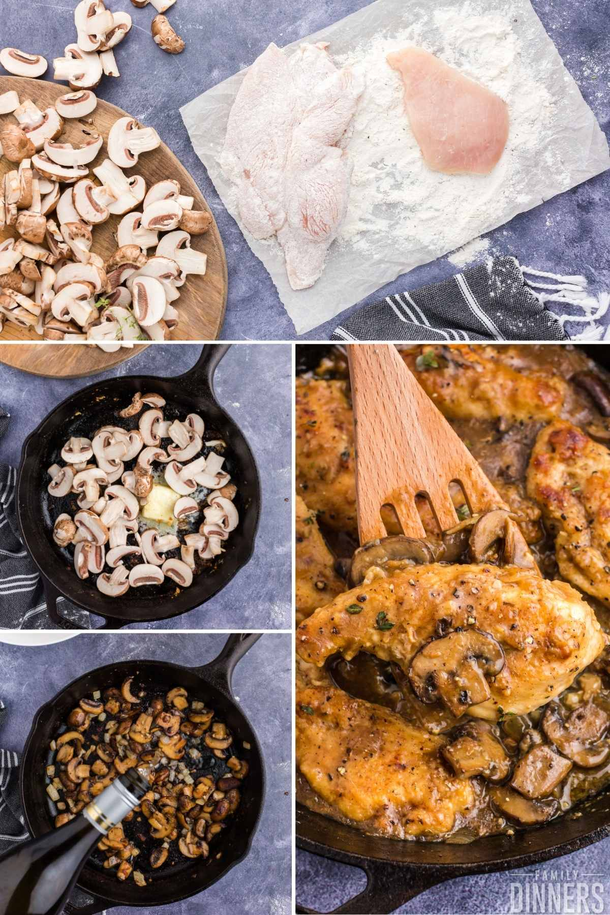 4 image collage. Top image of fresh cut mushrooms on wood cutting board next to parchment paper with flour and chicken breasts. 2nd photo of fresh mushrooms and melting butter in black cast iron pan. 3rd image of sauteed mushrooms in black cast iron pan with white wine bottle pouring into pan. 4th image of cooked chicken surrounded by creamy mushroom sauce