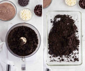 oreo cookies crumbled in food processor then poured into a glass baking dish.