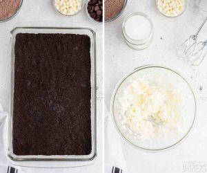 baking dish with cookie crumble mix in bottom. Right image of bowl of whipped cream.