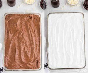 left image: baking dish with top layer of brown pudding. Right image top layer of white cream.