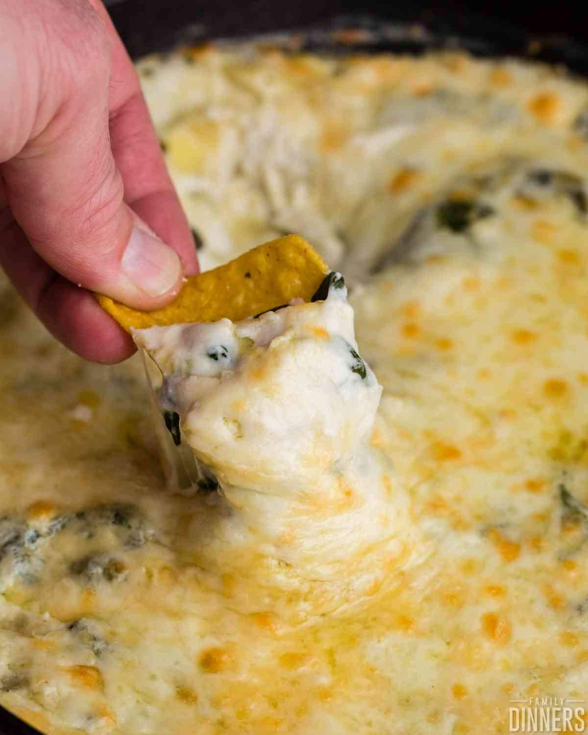yellow corn chip being dipped into hot cheesy spinach and artichoke dip in a black cast iron pan