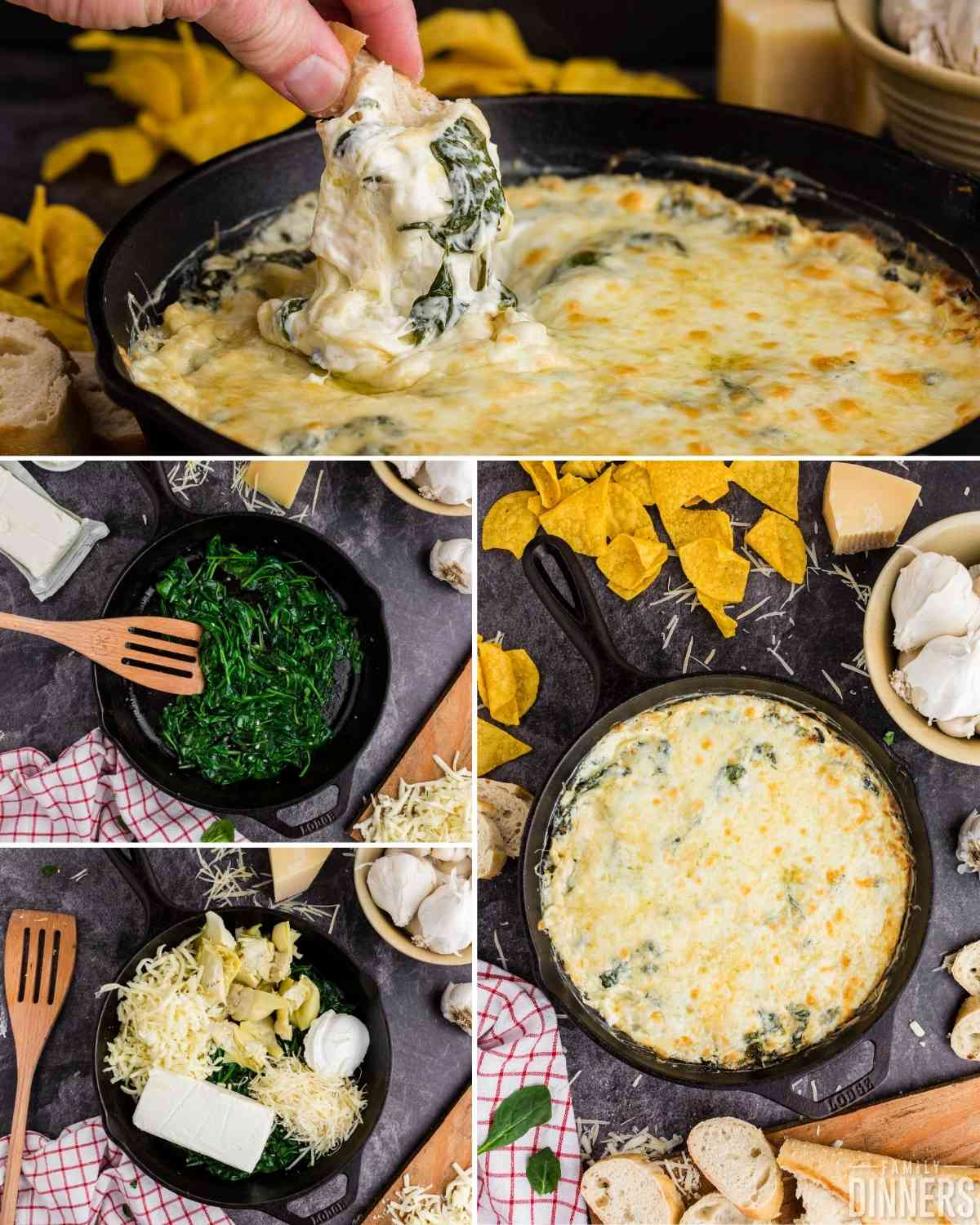 hot spinach dip collage - spinach being sauteed, cheese ingredients added to spinach, baked hot artichoke and spinach dip and bread dipped into dip.