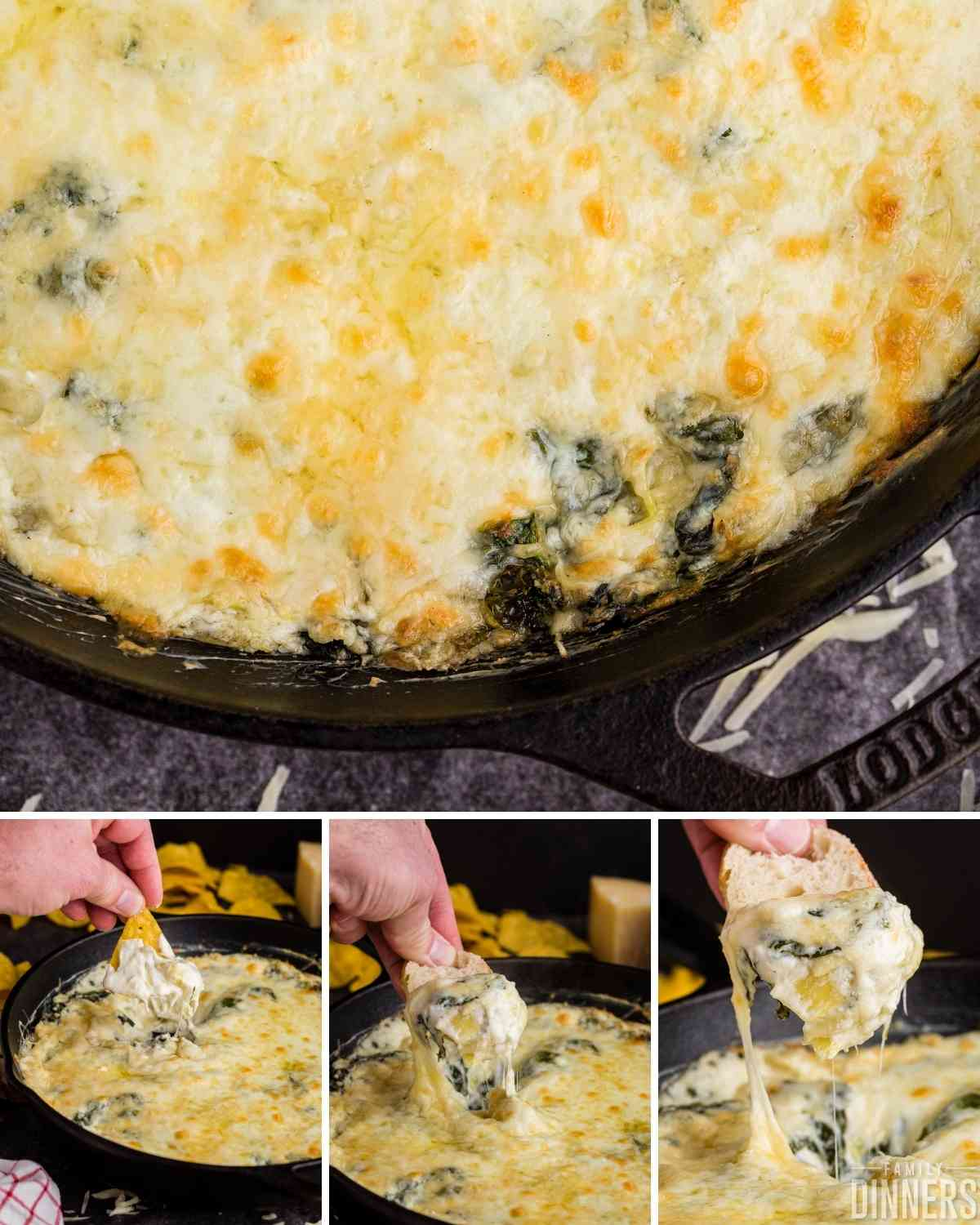 Golden cheesy top on a pan of cheesy spinach dip