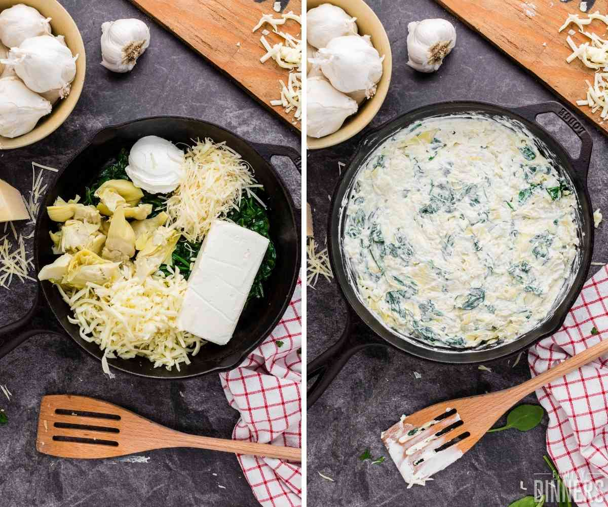Cream cheese, parmesan cheese, mozzarella cheese, sour cream and artichoke hearts are added to the sauteed spinach until melted in black cast iron pan.