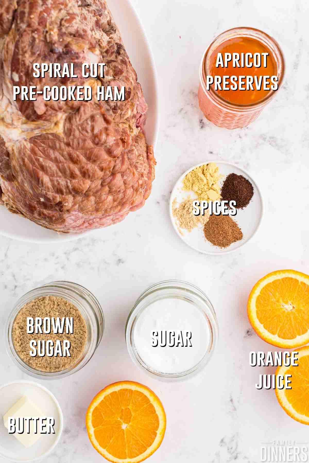 Spiral cut brown sugar glazed ham ingredients for sauce to baste ham and caramelize ham.